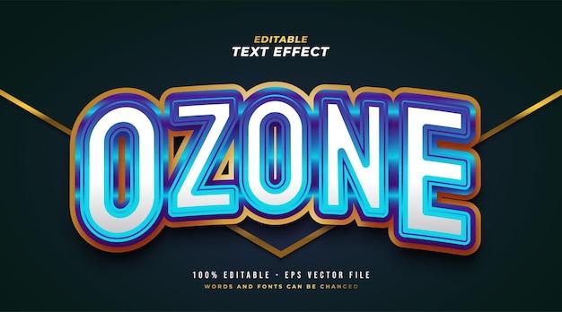 Testo ozone in bianco, blu e oro con effetto lucido e goffrato. effetto stile testo modificabile