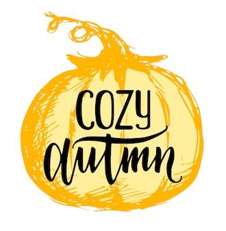 Vettore di citazione autunnale di ozy etichetta di lettering doodle disegnato a mano carino lettering autunnale per poster web