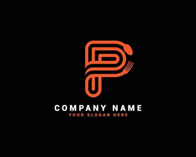 Logo della lettera del cibo p, logo della lettera del cucchiaio p, set del logo della lettera del cibo, alfabeto del cibo