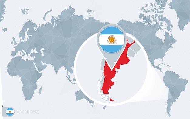 Mappa del mondo centrato sul pacifico con l'argentina ingrandita.