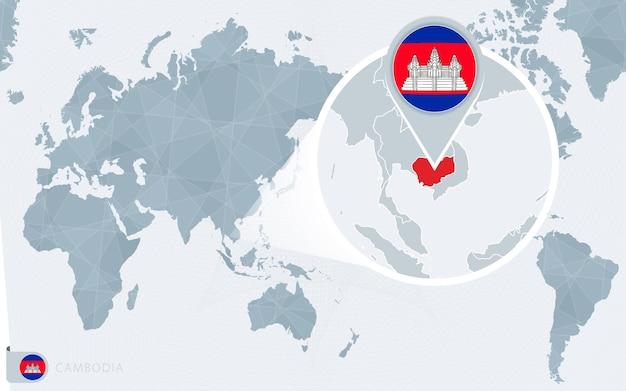 Mappa del mondo centrato sul pacifico con la cambogia ingrandita. bandiera e mappa della cambogia.