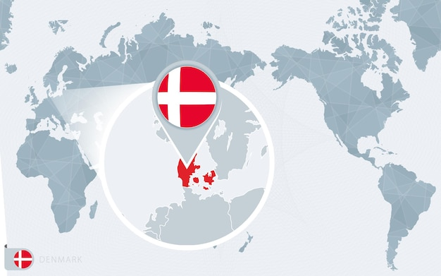 Mappa del mondo centrato sul pacifico con bandiera della danimarca ingrandita e mappa della danimarca