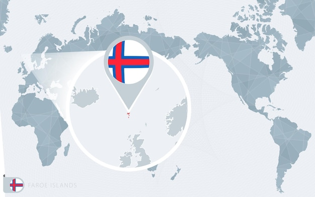 Mappa del mondo centrato sul pacifico con le isole faroe ingrandite. bandiera e mappa delle isole faroe.