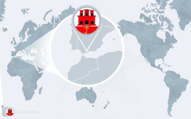 Mappa del mondo centrato sul pacifico con gibilterra ingrandita. bandiera e mappa di gibilterra.