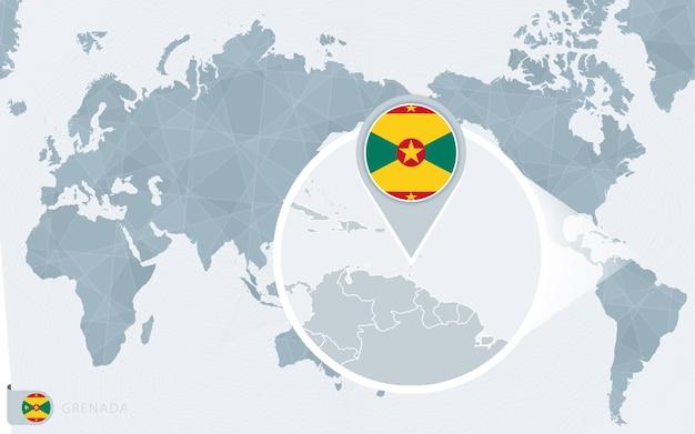 Mappa del mondo centrato sul pacifico con grenada ingrandita. bandiera e mappa di grenada.