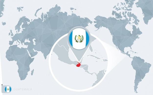 Mappa del mondo centrato sul pacifico con il guatemala ingrandito. bandiera e mappa del guatemala.