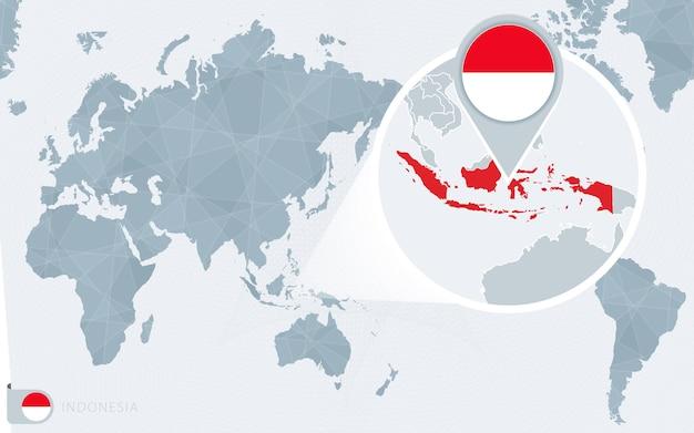 Mappa del mondo centrato sul pacifico con l'indonesia ingrandita. bandiera e mappa dell'indonesia.