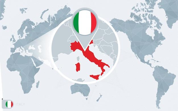 Mappa del mondo centrato sul pacifico con l'italia ingrandita. bandiera e mappa dell'italia.
