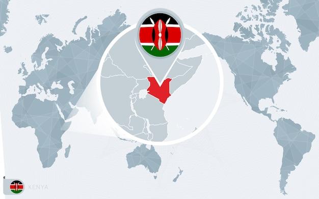 Mappa del mondo centrato sul pacifico con il kenya ingrandito. bandiera e mappa del kenya.
