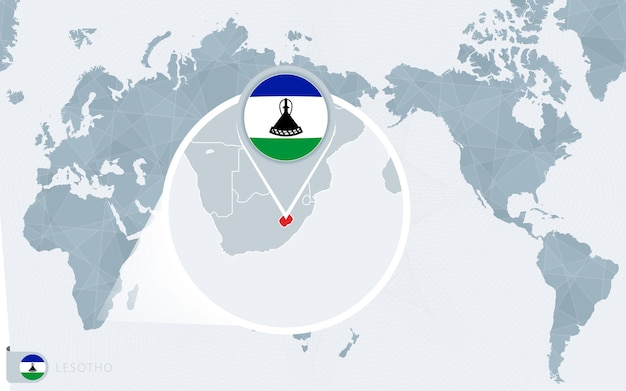 Mappa del mondo centrato sul pacifico con il lesotho ingrandito. bandiera e mappa del lesotho.
