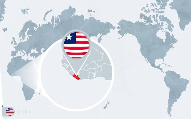 Mappa del mondo centrato sul pacifico con la liberia ingrandita. bandiera e mappa della liberia.