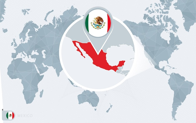 Mappa del mondo centrato sul pacifico con il messico ingrandito. bandiera e mappa del messico.
