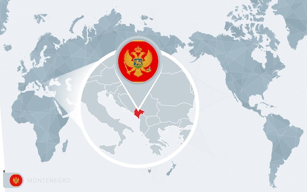 Mappa del mondo centrato sul pacifico con il montenegro ingrandito. bandiera e mappa del montenegro.
