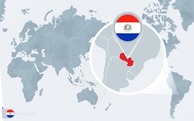Mappa del mondo centrato sul pacifico con paraguay ingrandito.
