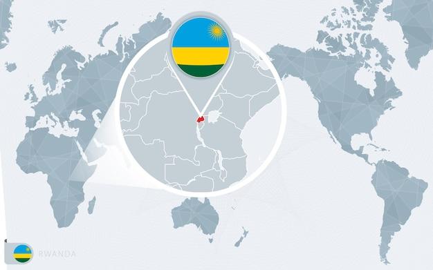 Mappa del mondo centrato sul pacifico con il ruanda ingrandito. bandiera e mappa del ruanda.