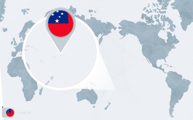 Mappa del mondo centrato sul pacifico con samoa ingrandita. bandiera e mappa delle samoa. Vettore Premium