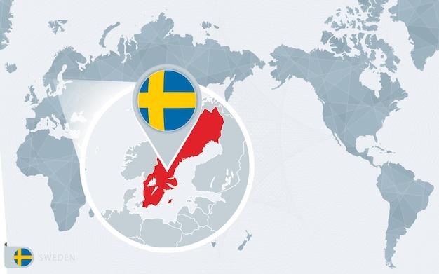 Mappa del mondo centrato sul pacifico con la svezia ingrandita. bandiera e mappa della svezia.