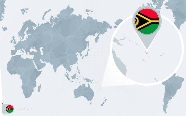 Mappa del mondo centrato sul pacifico con vanuatu ingrandita. bandiera e mappa di vanuatu.