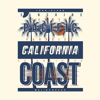 Design tipografico grafico della costa del pacifico
