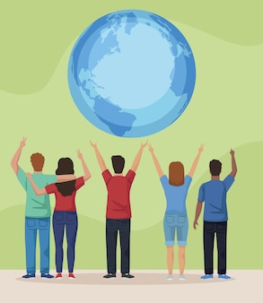 Pacifisti e pianeta terra Vettore Premium