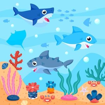 Confezione di baby squali nell'oceano illustrata