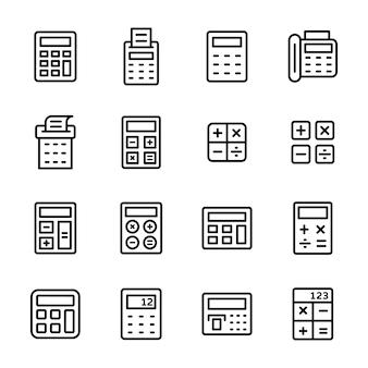 Pacchetto di icona linea calcolatrice