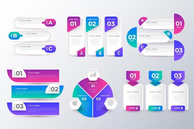Confezione di elementi infografici colorati