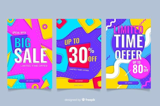 Confezione di vendita colorato banner stile memphis Vettore Premium