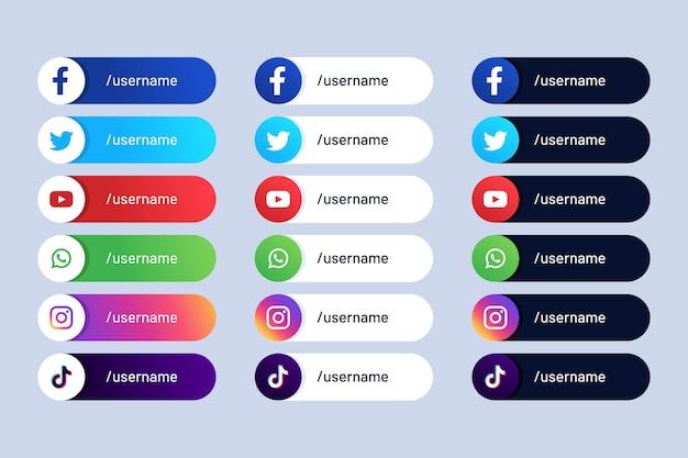 Pacchetto di diversi nomi utente di social media