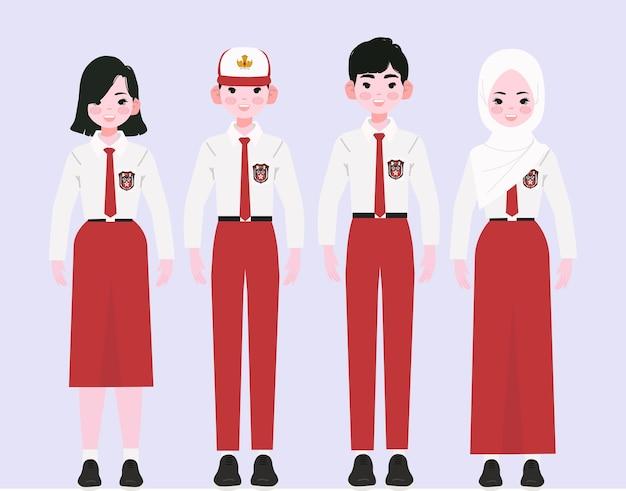 Confezione da studente di scuola elementare con uniforme indonesiana.
