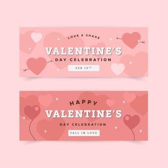 Confezione di banner design piatto di san valentino