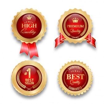 Confezione da quattro badge dorati premium