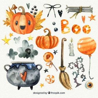 Pacchetto di elementi di acquerello di halloween