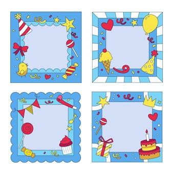 Confezione di cornici collage compleanno disegnati a mano