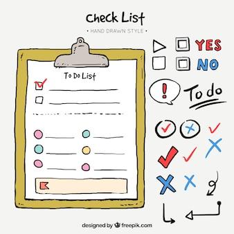 Confezione di elementi disegnati a mano per le liste di controllo