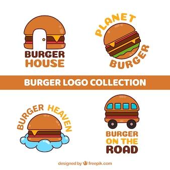 Confezione di marchi di hamburger disegnati a mano