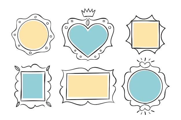 Confezione da cornici ornamentali disegnate a mano