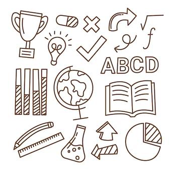 Confezione di elementi infographic di scuola disegnati a mano