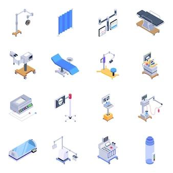 Confezione di icone isometriche di strumenti medici