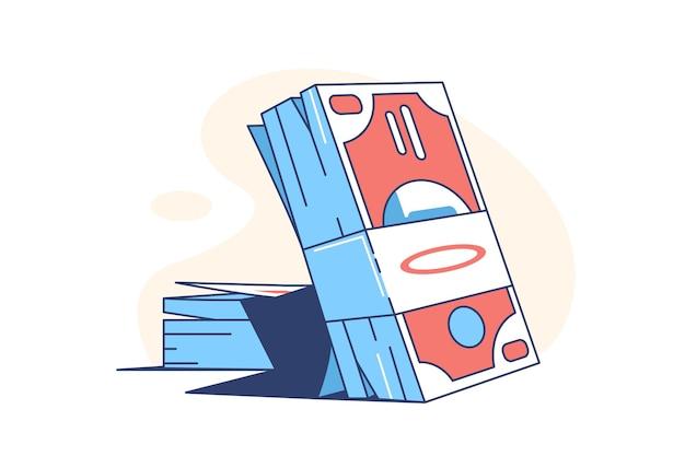 Pacchetto di denaro banconote in stile appartamento illustrazione