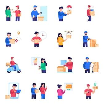 Pacchetto di icone piane di consegna pacchi