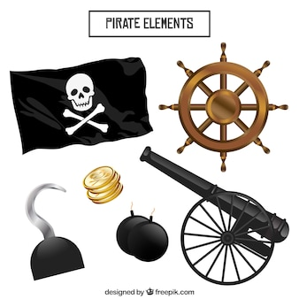 Confezione di bandiera pirata con altri elementi