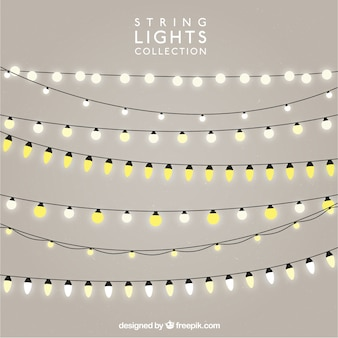 Confezione da stringhe con lampadine illuminate Vettore Premium