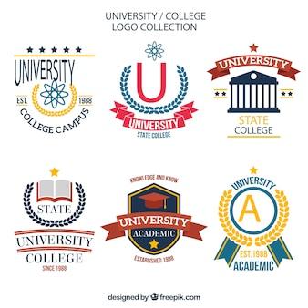 Confezione di loghi del college alla moda