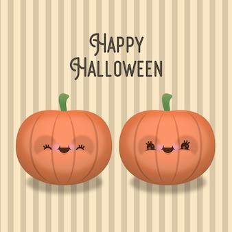 Confezione da due zucche di halloween con facce buffe