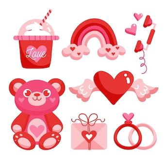 Confezione di elementi di san valentino