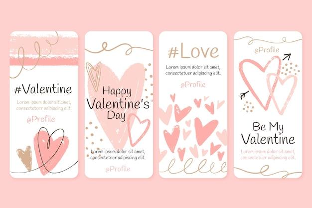 Pacchetto di storie di instagram di san valentino