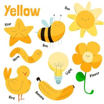 Confezione di oggetti gialli e parole del vocabolario in inglese