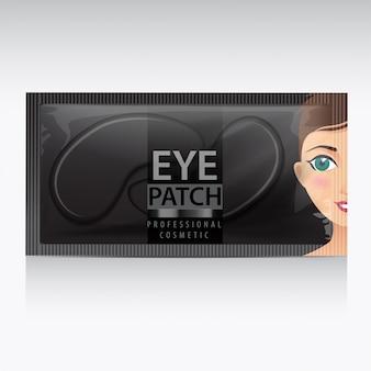 Confezione di cerotti neri idratanti sotto gli occhi. illustrazione di realistiche patch di gel per gli occhi su sfondo bianco