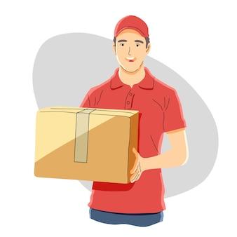 Consegna del pacchetto, concetto di uomo di consegna.